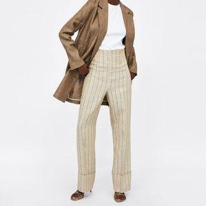 Zara linen trouser with turn up hem